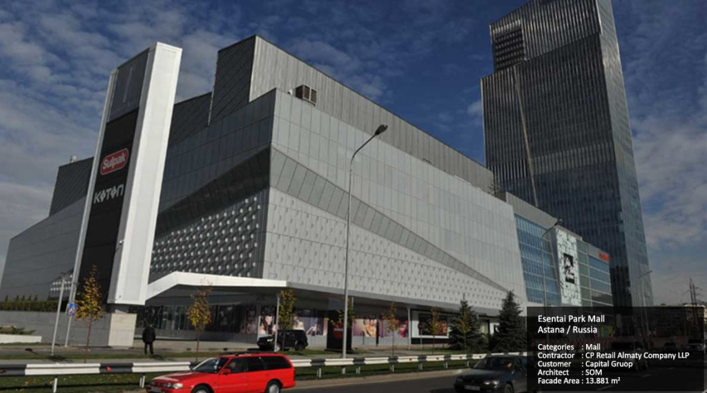 Esentai Park Mall Astana / Russia Categories : Mall Contractor : CP Retail Almaty Company LLP Customer : Capital Gruop Architect : SOM Facade Area : 13.881 m2
