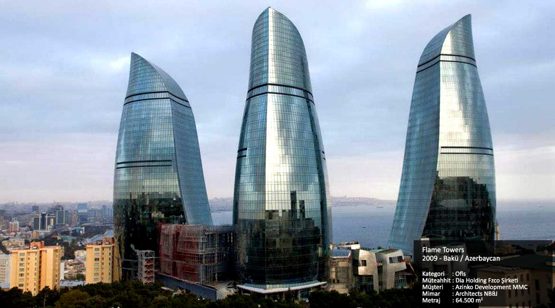 Flame Towers  2009 - Bakü / Azerbaycan  Kategori     :  Ofis Müteahhit : Dia Holding Fzco Şirketi Müşteri      : Azinko Development MMC Mimar        : Architects NBBJ Metraj        : 64.500 m2