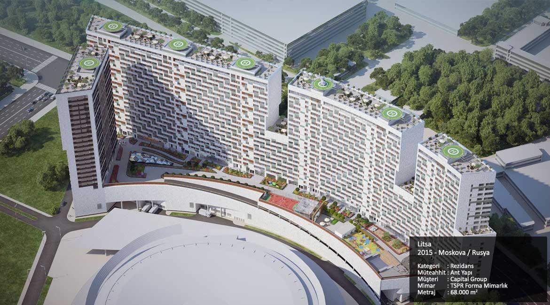 Litsa 2015 - Moskova / Rusya Kategori : Rezidans Müteahhit : Ant Yapı Müşteri : Capital Group Mimar : TSPR Forma Mimarlık Metraj : 68.000 m2