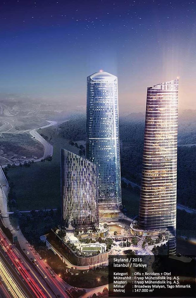 Skyland / 2016  İstanbul / Türkiye  Kategori     : Ofis + Rezidans + Otel Müteahhit : Eryap Mühendislik İnş .A.Ş.  Müşteri      : Eryap Mühendislik İnş. A.Ş. Mimar        : Broadway Malyan, Tago Mimarlık Metraj        : 147.000 m2