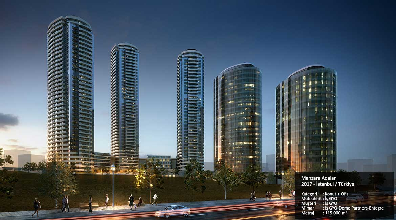 Manzara Adalar  2017 - İstanbul / Türkiye  Kategori     :  Konut + Ofis   Müteahhit : İş GYO Müşteri      : İş GYO Mimar        : İş GYO-Dome Partners-Entegre Metraj        : 115.000 m2