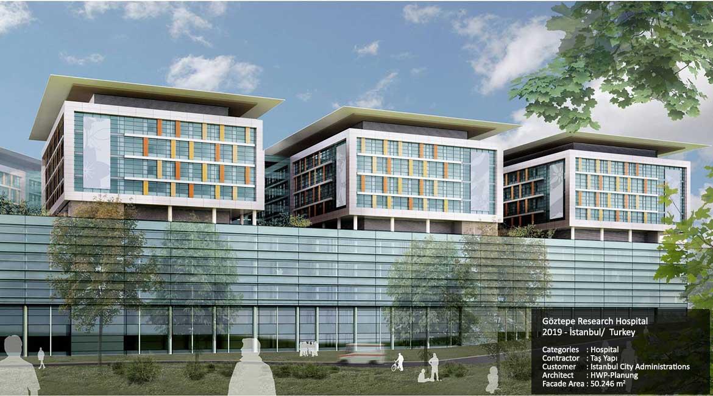 Göztepe Research Hospital 2019 - İstanbul/  Turkey  Categories: Hospital Contractor: Taş Yapı Customer: Istanbul City Administrations Architect: HWP-Planung  Facade Area: 50.246 m2