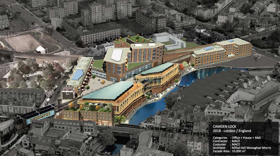 CAMDEN LOCK  2018 - London / England  Categories	: Office + House + Mall Contractor	: MACE Customer	: MACE Architect	: Allfod Hall Monaghan Morris Facade Area: 10.000 m2