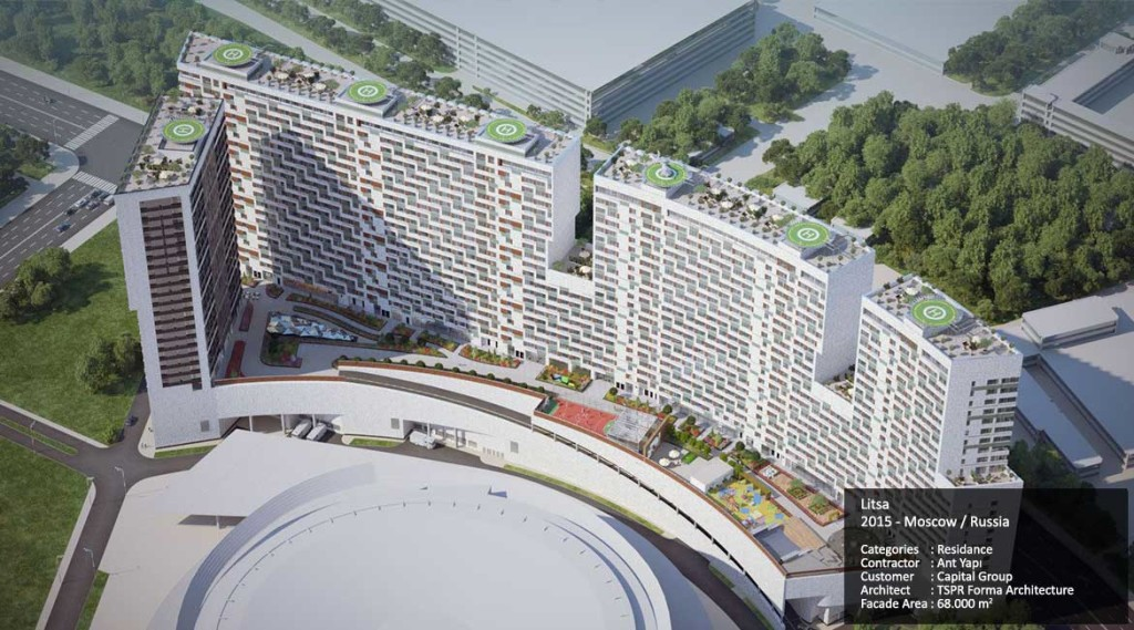 Litsa 2015 - Moscow / Russia Categories : Residance Contractor : Ant Yapı Customer : Capital Group Architect : TSPR Forma Architecture Facade Area : 68.000 m2