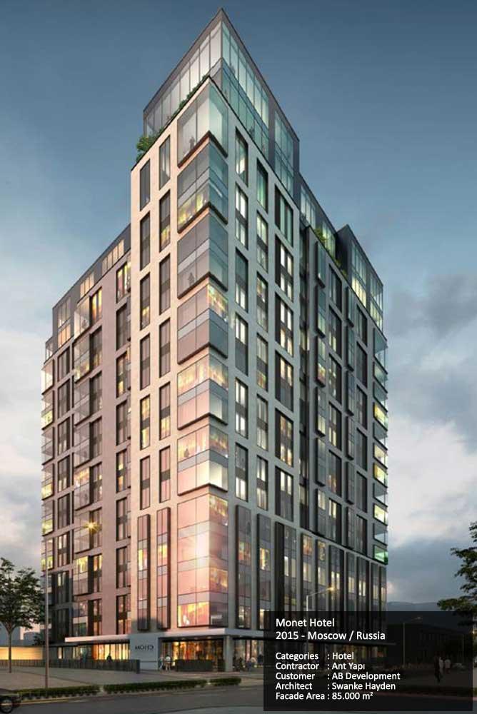 Monet Hotel 2015 - Moscow / Russia Categories : Hotel Contractor : Ant Yapı Customer : AB Development Architect : Swanke Hayden Facade Area : 85.000 m2