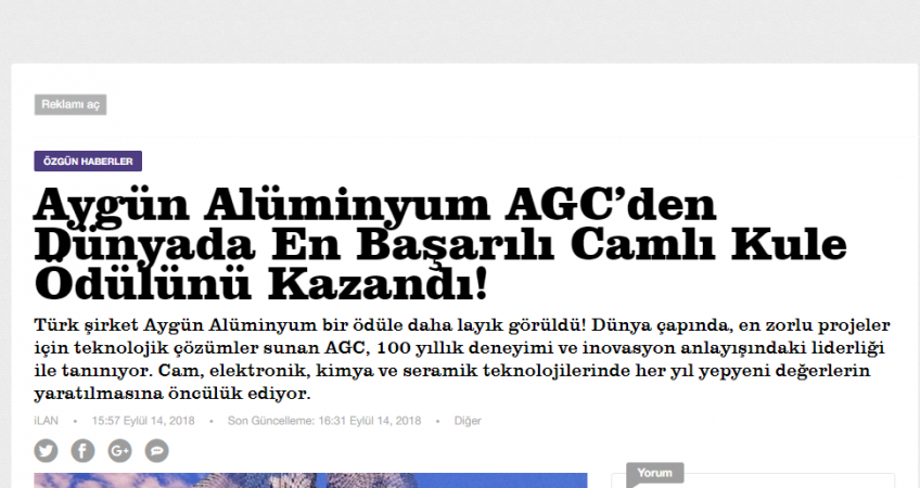 YeniSafak_Aygun_CamKule_Odulu-848x450
