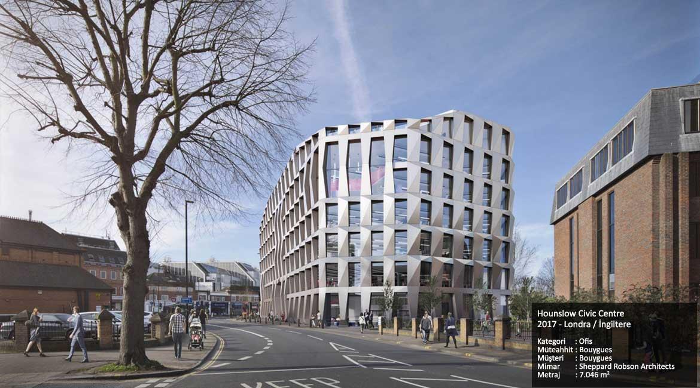 Hounslow Civic Centre 2017 - Londra / İngiltere Kategori : Ofis Müteahhit : Bouygues Müşteri : Bouygues Mimar : Sheppard Robson Architects Metraj : 7.046 m2